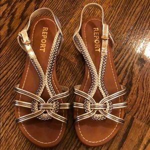 Report Two-Tone Gold and Bronze Sandals 7.5